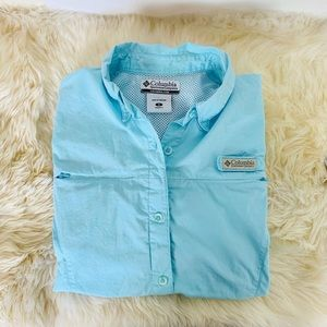 Columbia PFG Shirt Aqua-Colored Small
